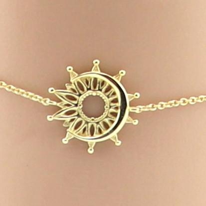 Armband, Sterlingsilber, vergoldet, Sonne und Mond